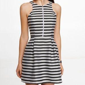 Express black and white striped skater dress